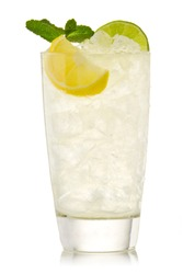 Cocktail with lime and lemon isolation on a white