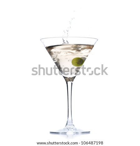 Cocktail with olive splash isolated on white