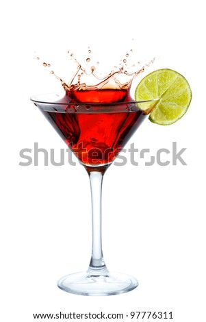 Cocktail with splash and lime slice isolated on white