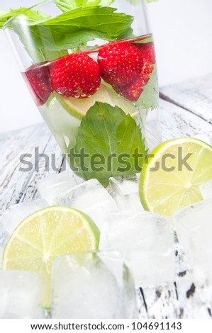 cocktail with strawberry, fresh cocktail, strawberry and mint