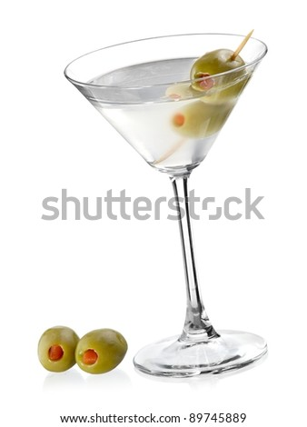 Cocktail with two green olives