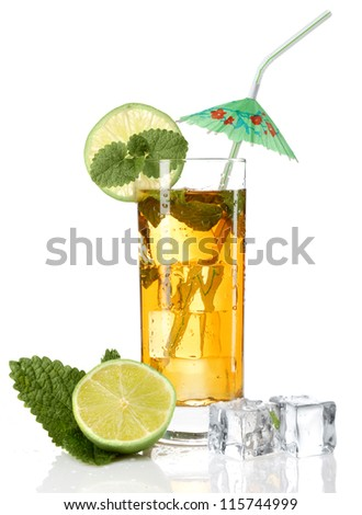 cocktail with umbrella and straw - stock photo