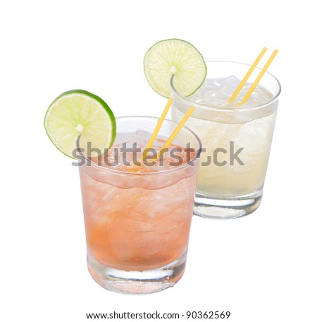 Cocktails alcohol drinks spirits margarita, martini on white background