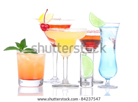 Cocktails alcohol drinks spirits mojito, mai tai, margarita, martini, shot of vodka, blue hawaiian with lemon, lime, cherry, mint in different cocktail glasses on a white background