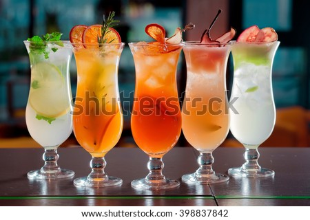 cocktails and soft drinks #398837842