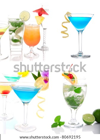 Cocktails collage. Blue Hawaiian Lagoon, Tropical Martini, Cosmopolitan, Mojito, Sex on the beach, Mai Tai in cocktail glasses with decoration on a white background