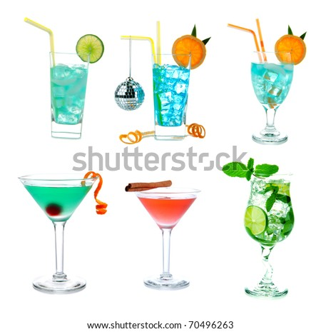 Cocktails collage collection. Blue Hawaiian Lagoon, Tropical Martini, Cosmopolitan, Mojito, Sex on the beach, Mai Tai cocktail drink isolated on a white background