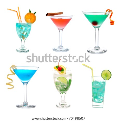 ... , Mai Tai cocktail drink isolated on a white background - stock photo