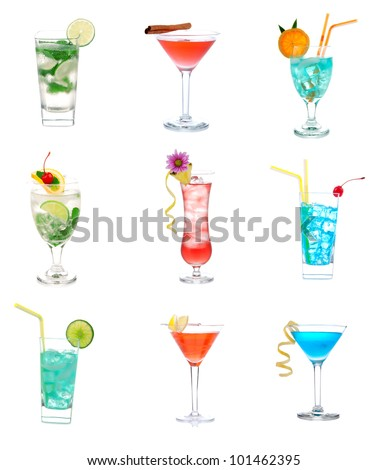 Cocktails collage collection. Blue Lagoon, Tropical Martini cocktail, red cosmopolitan, margarita, Mojito, tequila sunrise drink isolated on a white background