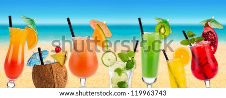 Cocktails in front of beach and sea
