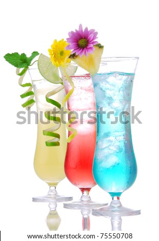 Cocktails margarita martini row with vodka, light rum, gin, tequila, blue curacao, lime juice, lemonade, lemon slice and fresh summer flowers in martinis cocktail glass on a white background
