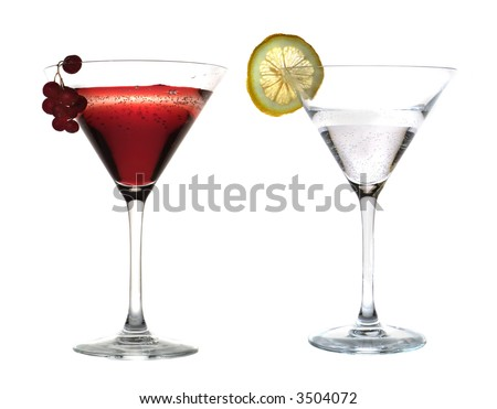 Cocktails on white a background