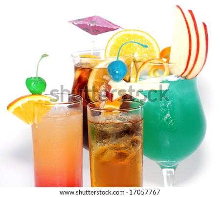 stock photo cocktails tequila sunrise sex on the beach blue hawaii long island iced tea isolated on white 17057767 Naked pictures have recently leaked onto the internet of American model, ...
