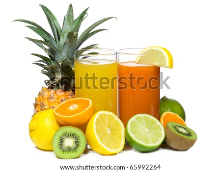 cocktails with fruits on white background