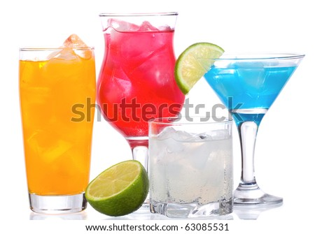 cocktails with lime on white background