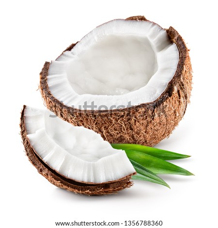Coco. Coconut half, piece and leaves isolated. Coconut on white background - Image Foto stock ©