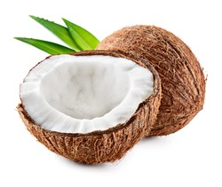 Coco. Coconut isolated. Coconut half and leaves on white background - Image