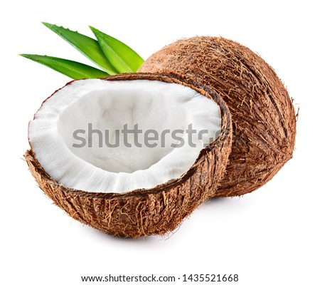 Coco. Coconut isolated. Coconut half and leaves on white background - Image Foto stock ©