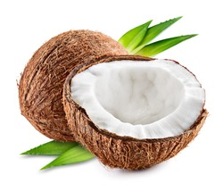 Coco. Coconut with half and leaves isolated on white background - Image