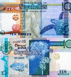 Coco-de-Mer palm, black-spotted trigger fish, Coco-de-Mer palm fruit; Fairy Terns; Hawksbill turtle),  Portrait from Seychelles 10 Rupees 1998 Banknotes. Collection.