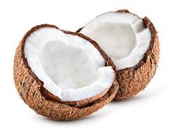 Coco white. Coconut slice. Coconut pieces isolated. Coconuts half on white.