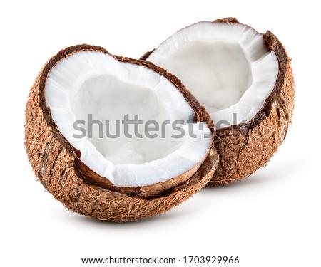 Coco white. Coconut slice. Coconut pieces isolated. Coconuts half on white. Foto stock ©