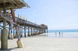 Cocoa beach pier in Florida during a hot summer day