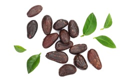 cocoa bean with leaf isolated on white background top view. Flat lay