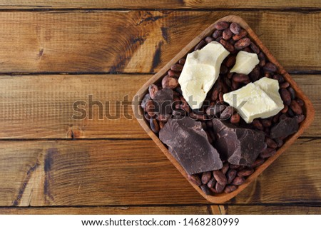 Cocoa beans, cocoa butter and cocoa mass on brown background #1468280999