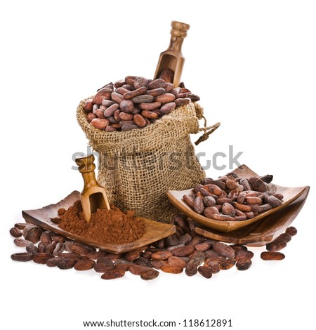 cocoa beans in bags of linen, cocoa beans with wooden spoon isolated on white background