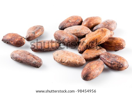 cocoa beans isolated on white
