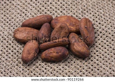 Cocoa beans on burlap. Shallow depth of field. A variety of cocoa beans.