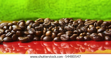 cocoa beans on red and green background