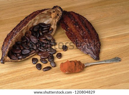Cocoa fruit with beans and  spoon full of cocoa powder on a wooden table