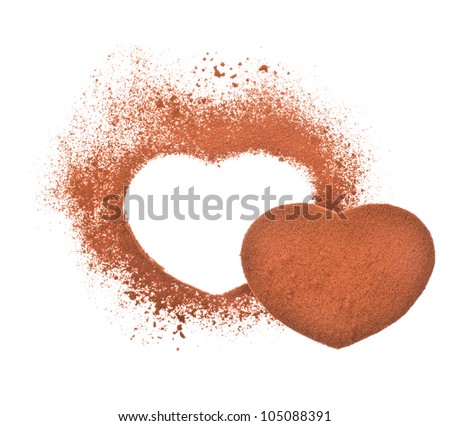 cocoa -  heart shape made from cocoa powder isolated on a white background