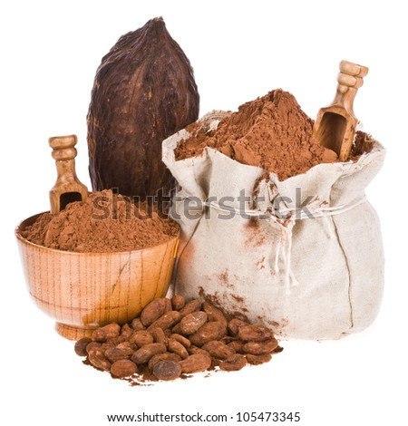 Cocoa in a linen bag, cocoa powder in a wooden bowl with a wooden spoon, cocoa beans and cocoa fruit isolated on a white background - stock photo