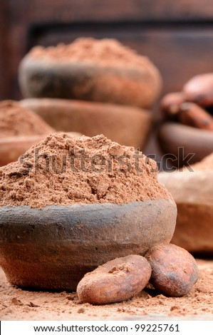 Cocoa powder and beans in rustic ceramic bowl
