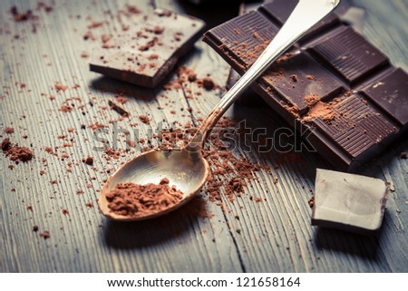 Cocoa Powder and bitter chocolate bar