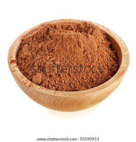 cocoa powder in a bowl  isolated on white background