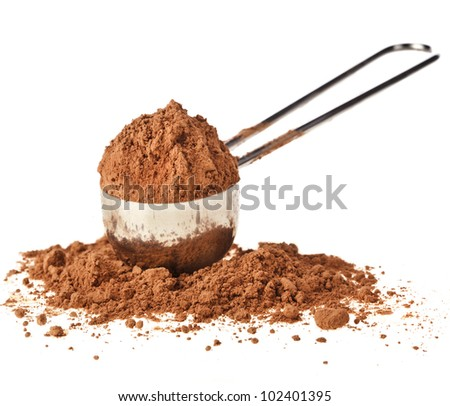 cocoa powder  in scoop isolated on white background - stock photo