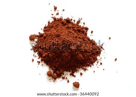 Cocoa powder isolated on white - stock photo