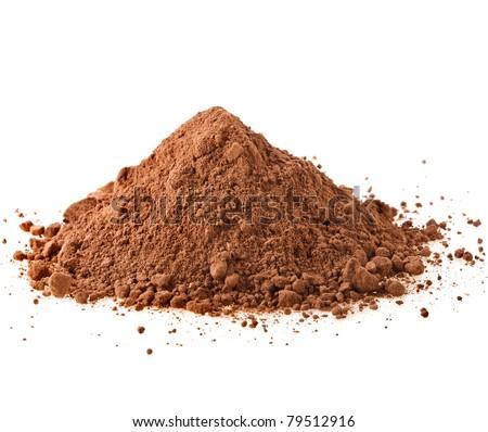 cocoa powder isolated on white background