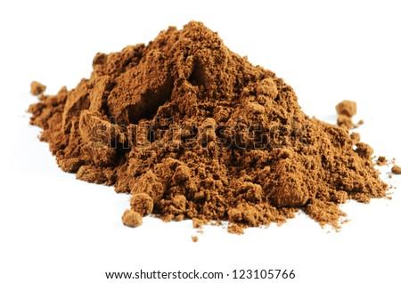 Cocoa powder on white background - stock photo