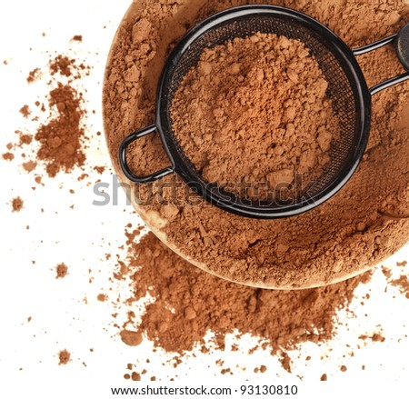 cocoa powder on white background