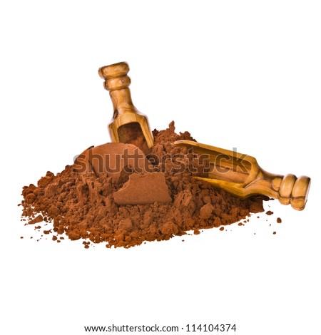 cocoa powder pour into the pyramid with wooden scoop isolated on white background