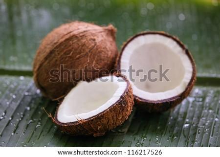 Coconat on banana leaf
