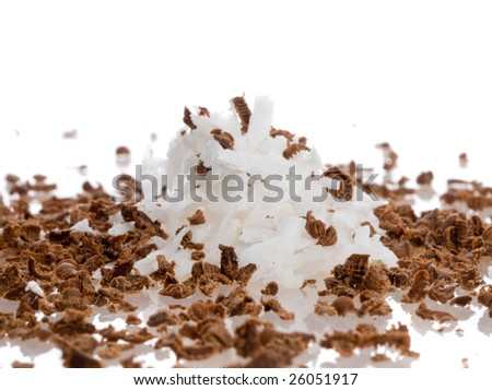 Coconut and chocolate shaving