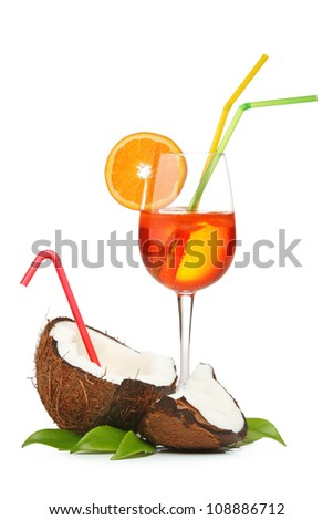 Coconut and orange coctail isolated on white