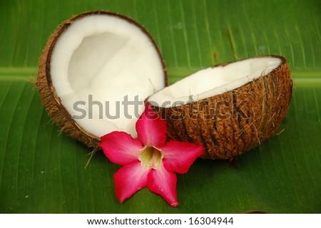 Coconut and plumeria on banana leaf