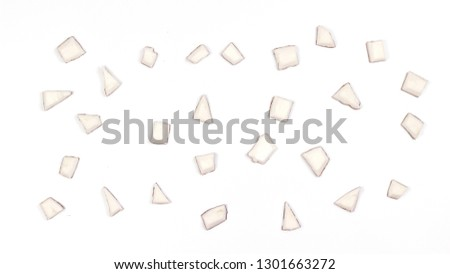 Coconut background. Pieces of coconut lie on a white background.